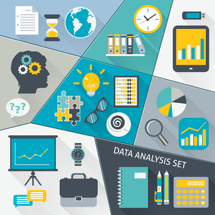 Data analysis business flat icons set with symbols and gadgets isolated vector illustration.のイラスト素材 [FYI03070002]