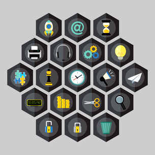 Hexagon business icons set of money megaphone clock lock cogwheel isolated vector illustrationのイラスト素材 [FYI03070006]