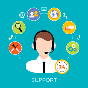 24h all the time customer support center via phone mail operator service icons concept vector illustのイラスト素材 [FYI03070017]