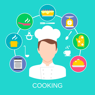 Delicatessen cooking culinary pastry chef classes advertisement with kitchen pictograms compositionのイラスト素材 [FYI03070018]