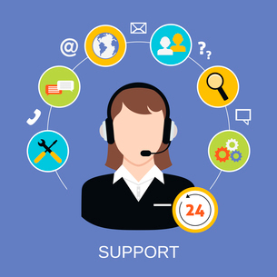 24h online worldwide available customer support helpdesk woman operator service concept vector illusのイラスト素材 [FYI03070021]