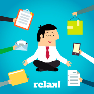 Businessman practicing yoga cross legged lotus asana relaxation technique detachment from documentsのイラスト素材 [FYI03070022]