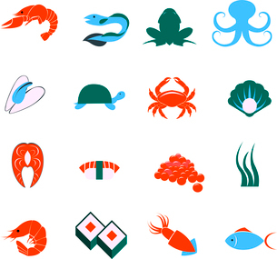 Decorative seafood squid lobster fish sushi pictograms and sea mollusks icons set flat abstract isolのイラスト素材 [FYI03070024]