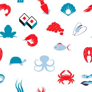 Decorative sea food sushi restaurant menu scallop fish items symbols seamless wrap paper backgroundのイラスト素材 [FYI03070029]