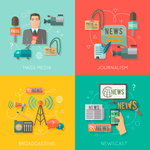 Mass media journalism broadcasting news cast concept flat business icons set of paparazzi professionのイラスト素材 [FYI03070036]