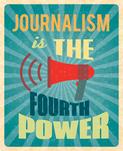 Journalism press news reporter profession poster with red megaphone and text vector illustrationのイラスト素材 [FYI03070039]