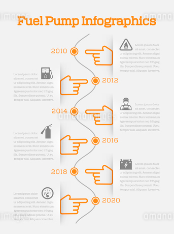 Auto gasoline  battery charger fuel pump station service timeline infographics with orange hands vecのイラスト素材 [FYI03070044]