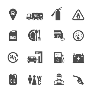 Gasoline diesel fuel pump service station convenience food store and WC icons set abstract isolatedのイラスト素材 [FYI03070046]