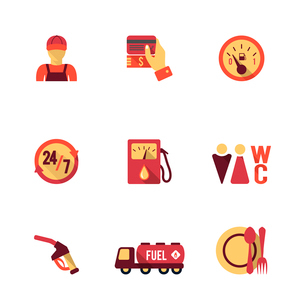 Gas petrol fuel pay at the pump 24h availability station icons set flat isolated abstract vector illのイラスト素材 [FYI03070047]