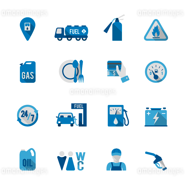 Set of fuel station car auto gasoline service icon in blue and grey color vector illustrationのイラスト素材 [FYI03070050]