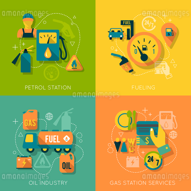 Set of gas fuel station car oil petrol auto service concept flat business icons set for infographicsのイラスト素材 [FYI03070051]