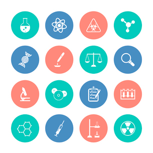 Scientific research chemistry equipment pictograms collection color circles graphic design icons setのイラスト素材 [FYI03070056]