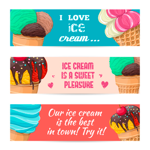 Set of  sweet ice-cream banners with different tasty vector illustrationのイラスト素材 [FYI03070057]