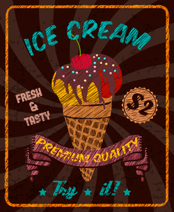 Chocolate tasty ice-cream with cherry chocolate topping in cone wafer cup vector illustrationのイラスト素材 [FYI03070061]