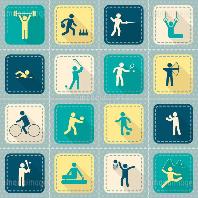 Decorative swimming boxing weightlifting rhythmic gymnastics sport symbols patch style icons set flaのイラスト素材 [FYI03070065]