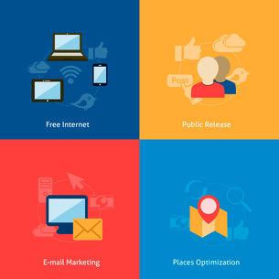 Internet wireless navigation e-mail marketing concept flat business icons set of phone computer peopのイラスト素材 [FYI03070076]