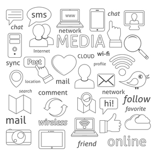Social media sign for blogging networking and marketing communications isolated vector illustrationのイラスト素材 [FYI03070079]