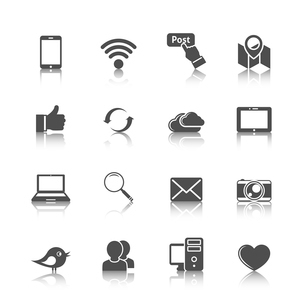 Social media mobile global network set with computer cloud tablet monochrome icons isolated vector iのイラスト素材 [FYI03070080]