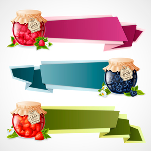 Natural organic berry dessert jam in glass jar horizontal origami paper banners set isolated vectorのイラスト素材 [FYI03070105]