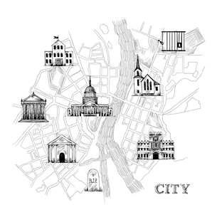 Information city map for travel navigation with icons of school prison church bank theater universitのイラスト素材 [FYI03070106]