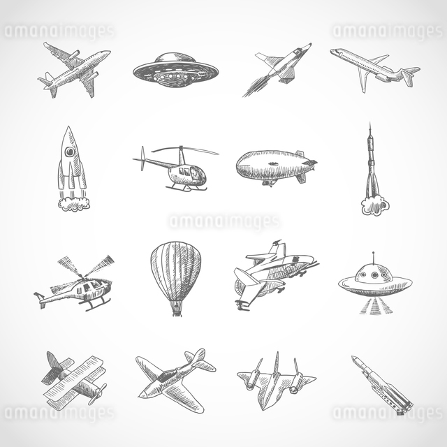 Aircraft helicopter military aviation airplane sketch icons set isolated vector illustrationのイラスト素材 [FYI03070108]