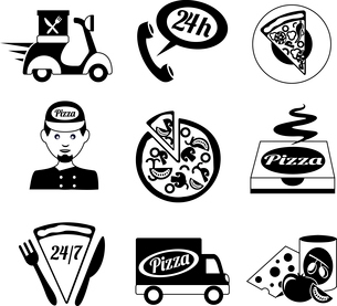 Fast food pizza delivery ingredients decorative black and white icons set isolated vector illustratiのイラスト素材 [FYI03070112]