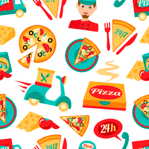 Fast food pizza delivery 24h ingredients seamless pattern vector illustrationのイラスト素材 [FYI03070114]