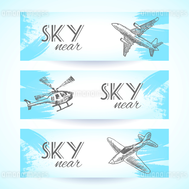 Aircraft military aviation sky vehicles sketch icons banners set isolated vector illustrationのイラスト素材 [FYI03070116]
