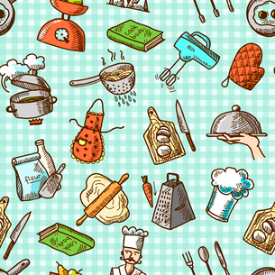 Cooking process delicious food sketch icons on squared background seamless pattern vector illustratiのイラスト素材 [FYI03070119]