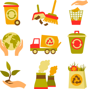 Ecology and waste colored icons set of trash can globe plant isolated vector illustrationのイラスト素材 [FYI03070121]