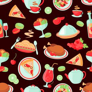Restaurant food drink menu chicken ice cream dishes seamless pattern vector illustration.のイラスト素材 [FYI03070122]