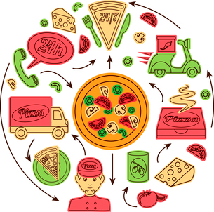 Fast food pizza delivery service concept with sketch icons vector illustrationのイラスト素材 [FYI03070128]