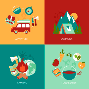 Business concept flat icons set of camping area adventure food and drink infographic design elementsのイラスト素材 [FYI03070136]