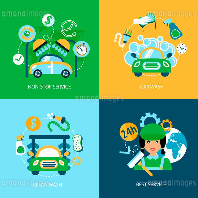 Business concept flat icons set of car wash best clean non stop auto service infographic design elemのイラスト素材 [FYI03070140]