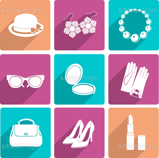 Woman fashion stylish casual shopping classic flat icons set of makeup footwear and accessories isolのイラスト素材 [FYI03070141]