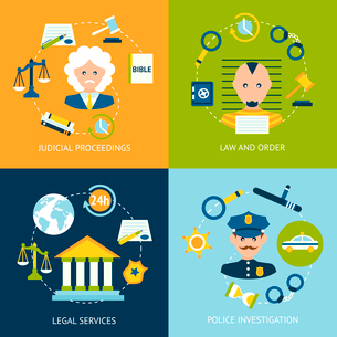 Business concept flat icons set of law and order judicial proceedings legal services police investigのイラスト素材 [FYI03070142]