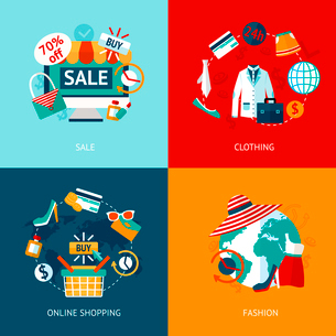 Business concept flat icons set of online accessories shopping and fashion clothing internet sale inのイラスト素材 [FYI03070146]