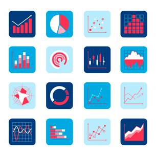 Business elements dot bar pie charts diagrams and graphs icons set isolated vector illustration.のイラスト素材 [FYI03070151]