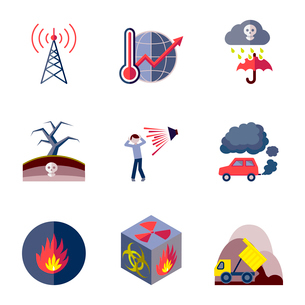 Pollution toxic environment damage and contamination flat icons isolated vector illustrationのイラスト素材 [FYI03070154]