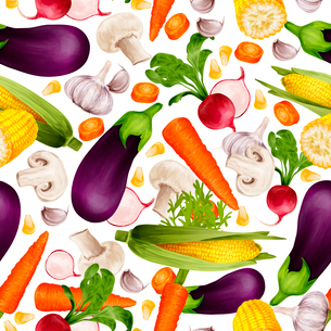 Vegetable organic food realistic seamless pattern with cut carrot maize stalk aubergine vector illusのイラスト素材 [FYI03070155]