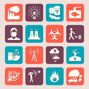 Pollution toxic environment damage radioactive garbage and contamination silhouette icons isolated vのイラスト素材 [FYI03070157]