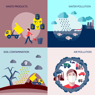 Pollution waste products water soil air contamination icons flat set isolated vector illustrationのイラスト素材 [FYI03070158]