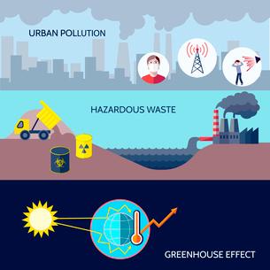 Pollution urban hazardous waste greenhouse effect icons flat set isolated vector illustrationのイラスト素材 [FYI03070160]