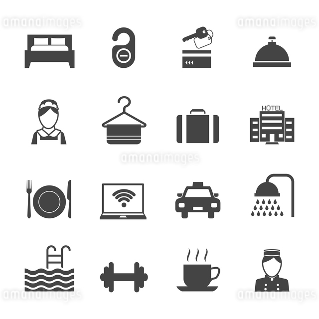 Hotel business accommodation elements black icons isolated vector illustrationのイラスト素材 [FYI03070161]