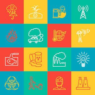Pollution toxic environment damage radioactive garbage and global warming outline icons isolated vecのイラスト素材 [FYI03070162]
