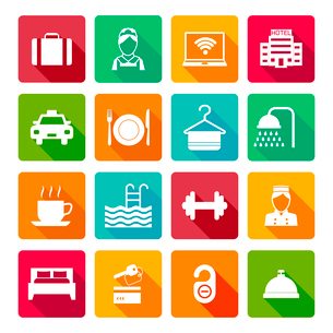 Set of hotel bed reception bath bed bell icons on colorful squares in white color vector illustratioのイラスト素材 [FYI03070166]