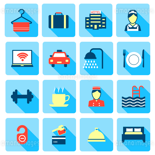 Set of hotel bed reception bath bed bell icons on colorful squares in flat color style vector illustのイラスト素材 [FYI03070168]