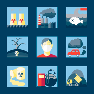 Set of pollution damage environment radioactive icons in flat style on squares vector illustrationのイラスト素材 [FYI03070169]