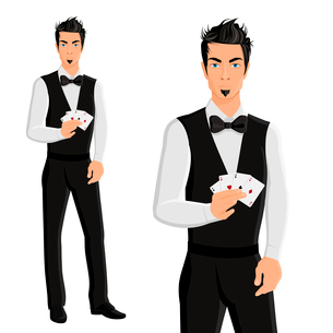 Handsome young man casino dealer with cards portrait isolated on white background vector illustratioのイラスト素材 [FYI03070193]