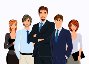 Group of people businesman with business team isolated on white vector illustrationのイラスト素材 [FYI03070207]
